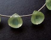 Destash 40% OFF Designer Artisan Prehnite Carved Heart Drops Perfect for earrings 3 Pieces