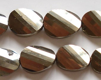 Custom Designer Cut Super Shiny Pyrite Step Faceted Twisted Ovals 5 Pcs.