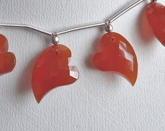 Valentine Carnelian Faceted Fancy Asymmetrical Heart Briolette Drops ONE Pair P152