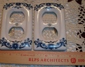 Delft Style Blue and White Ceramic Outlet Covers set of 2 Never Used