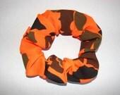 Hunter Orange Camo Fabric Hair Scrunchie - Blacks, browns, greens, orange-military, hunting camoflauge