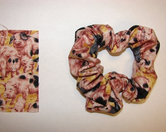 Pig Fabric Hair Scrunchie - A variety of sizes and ages of swine all over this fabric