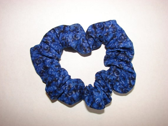 Blue and Black Swirl Fabric Hair Scrunchie with silver accents