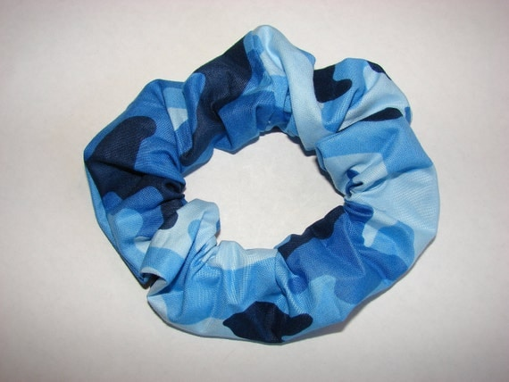 Blue Camo Fabric Hair Scrunchie, feminine hunter, camoflauge, outdoors, gifts for her, military, women's accessories, womans scrunchies