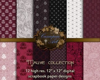 Digital Scrapbooking Papers - Mauve collection