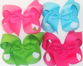 "SALE-10 Big Hair Bows Large Hair Bows Girls Bows Big Bows Large Bows Big Bow Back To School Bows-5"" Boutique Hair Bows Toddler Hair Clip"