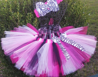 SALE-Hot Pink Zebra Tutu-1st Birthday Tutu First Birthday Tutu Cake Smash Tutu Girls Tutu Set Baby Tutu Pink Black-Newborn Infant Toddler