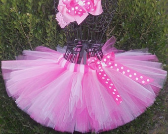 SALE-Baby Tutu Pink Tutu 1st Birthday Tutu First Birthday Tutu Cake Smash Tutu Pink Minnie Mouse Tutu Newborn Tutu Infant Tutu Toddler Tutu