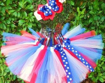 "SALE-July 4th Tutu Patriotic Tutu -Ready To Ship-Size 17"" Waist-4th of July Tutu USA Tutu Patriotic Tutu Flag Tutu Red White Blue Tutu Stars"