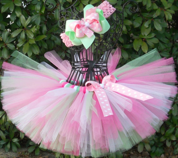 SALE-Baby Tutu Pink Green Tutu 1st Birthday Tutu First Birthday Tutu Cake Smash Tutu Newborn Tutu Infant Girls Tutu Toddler Tutu Baby Shower