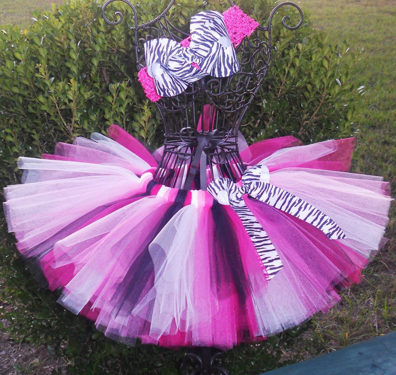 Hot Pink Zebra Tutu-1st Birthday Tutu First By SugarSweetBows