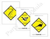 INSTANT DOWNLOAD Printable Dinosaur Crossing Yard Signs...by Party Like Paula