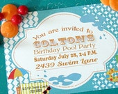 Printable 5X7 Birthday Pool Party Invitation...by Party Like Paula