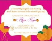 Printable 5X7 Pink Pumpkin Baby Shower Invitation...by Party Like Paula