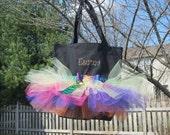 Tutu Dance Bag, Canvas Tote Bag, Rainbow Zebra Print Bag - FREE PERSONALIZATION