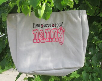 Embroidered Tote Bag, 'Live-Love-Spoil  Nanny' Bag