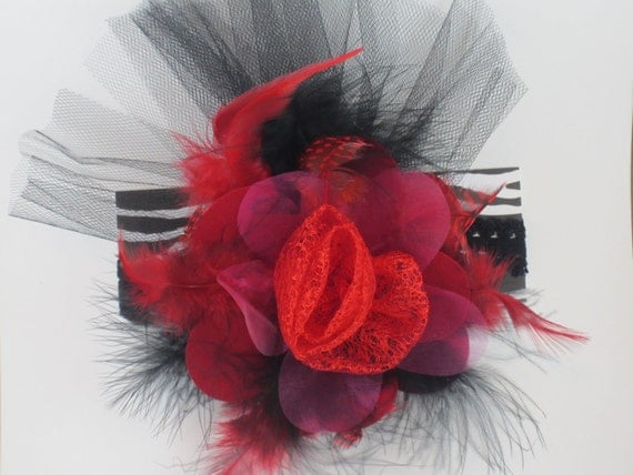 Red and Black Over the Top Bow, Red Hat Society - headband, perfect for pictures