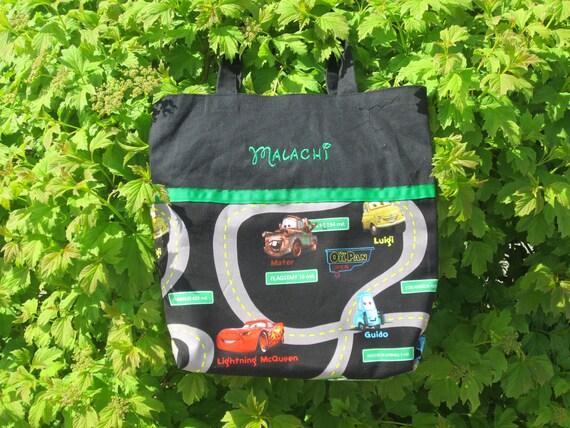 Boys Tote Bag, Canvas Tote Bag, 'Cars' Bag - FREE PERSONALIZATION