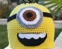 Despicable Me Minion -ish Hat :  One- Eyed Minion Handmade Crochet Beanie Hat