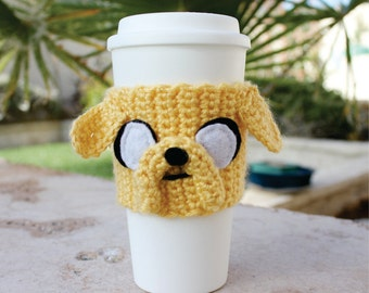 Jake the Dog Inspired Coffee Travel Cup Cozy: Adventure Time -ish Eco - Friendly Crochet Knit Sleeve
