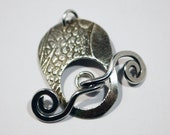 Sterling silver toggle clasp - spiral pattern - handmade