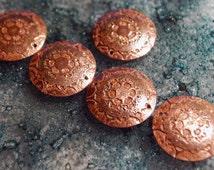 Etched Copper Spacer Disks - copper flower - drilled spacer disks