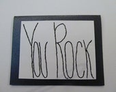 You Rock Hand Embroidered Card - set of two