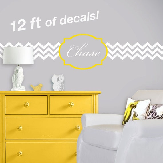 Chevron and Quatrefoil Nursery Wall Decal - Personalized Monogram Initial Baby Name - Zig Zag Decal