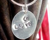 Hand Stamped Keychain -- Love