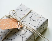 """Eco-friendly Wrapping Paper """"White Molecules"""" Set of 2"""