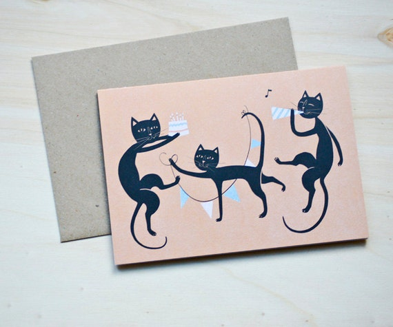 "Eco-friendly Greeting Card ""Birthday Cats"""