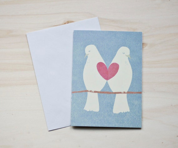 "Eco-friendly Greeting Card ""Lovebirds"""