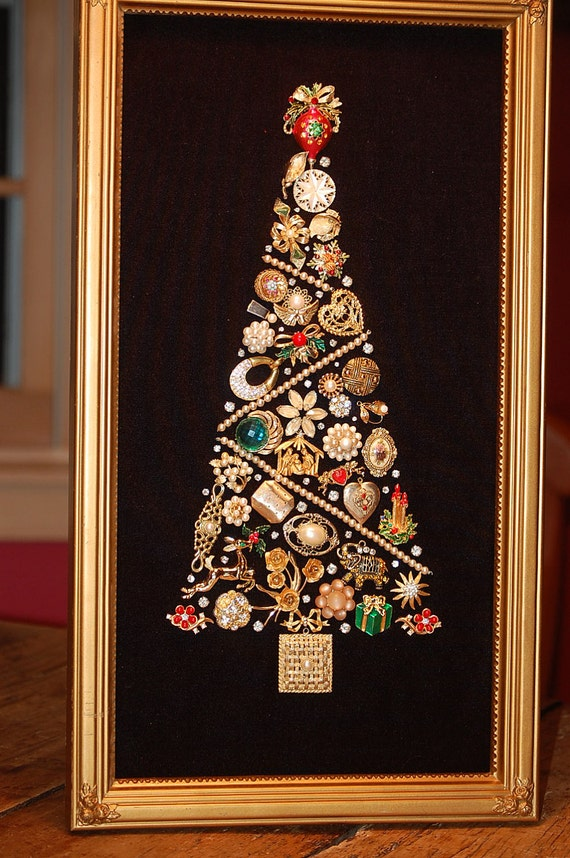 Items similar to gold and pearl vintage jewelry christmas for Where to buy framed art