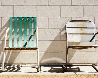 fine art photography 24 x 36 affordable decor, light and shadow, vintage metal chairs, Palm Springs,  turquoise, silver, rust
