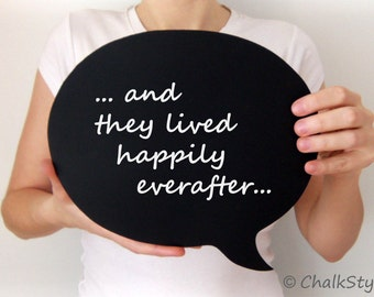 Large Chalkboard Speech Bubble -- Oval Wooden Chalk Board for Weddings or Engagement Photo Prop
