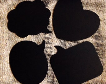 4 Large Chalkboard Speech Bubbles Wedding Photo Props Set -- You Choose the Shapes -- Cloud, Oval, Rectangular and Heart