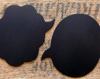 2 Large  Chalkboard Speech Bubbles  -- You Choose the Shapes -- Sturdy Wooden Chalkboards for Wedding Photo Booth, Engagement Photos