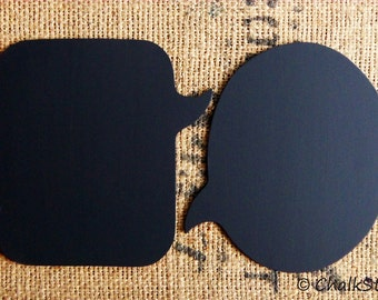 Set of 2 Large Speech Bubble Chalkboards  --Sturdy Wooden Oval and Rectangular Chalkboards, Photo Props for Wedding