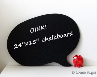 """24""""x15"""" Oversized Speech Bubble Chalkboard -- Wedding Photo Prop or Home Decor Made to Order"""