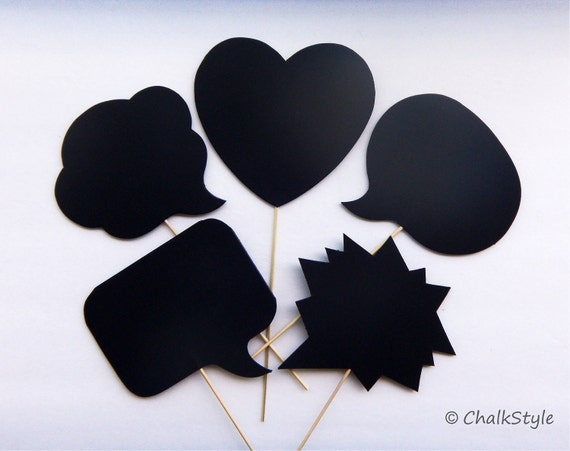 Set of 5 Chalkboard Photo Booth Props Speech Bubbles on a Stick -- Bubbles and a Heart Chalk Board for Wedding or Engagement Photos