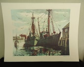 Closing Shop-Make Offer  vintage watercolor / lithograph / Brian Truelove Morning Light lithograph print