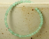 SALE Green Aventurine Beaded Memory Wire Bracelet, Silver