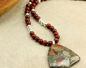 Red Rainbow Jasper and Sterling Silver Necklace with Picasso Jasper Teardrop Pendant