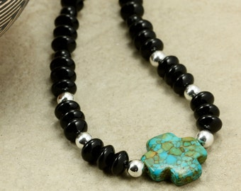 "Onyx and Sterling Silver Necklace with Mosaic ""Turquoise"" Cross, Strand Necklace, Southwestern Necklace, Black Necklace"