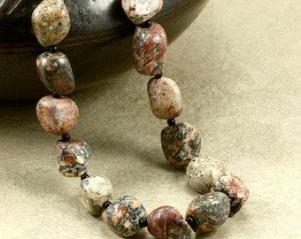 Leopardskin Jasper Necklace with Sterling Silver, Chunky Necklace, Jasper Nuggets,