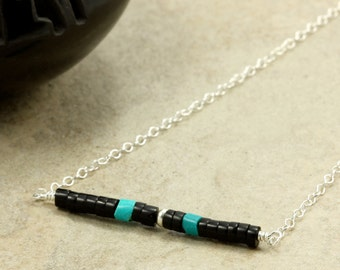Turquoise and Jet Bar Necklace with Sterling Silver Chain, Black Jet, Southwestern