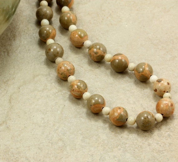 Jasper and African Opal Necklace, Strand Necklace, Safari Jasper, Chunky Necklace