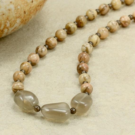 Tan Feldspar and Smoky Quartz Nugget Strand Necklace, Chunky Necklace