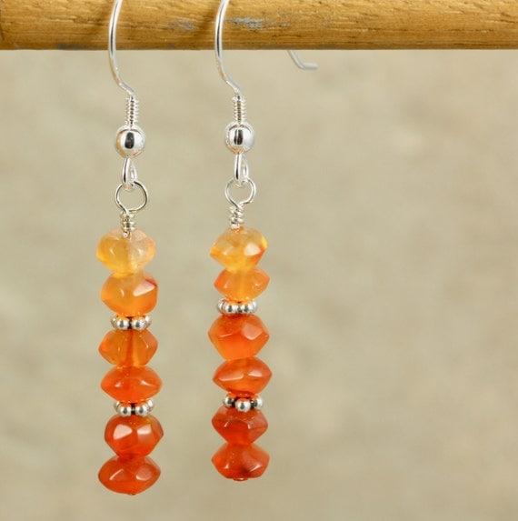 Carnelian and Sterling Silver Drop Earrings, Dangle Earrings, Orange