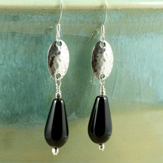 Black Onyx Earrings with Hammered Silver